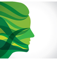 abstract green women face vector image