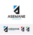asemane technology logo design vector image
