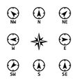 black wind rose icons set vector image vector image