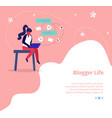 blogger life square banner online streaming blog vector image vector image