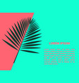bright template with palm leaf and place for text vector image