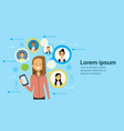 business woman using cell smart phone vector image vector image