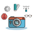 camera and objects design vector image