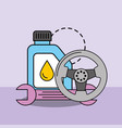 car service maintenance engine oil steering wheel vector image