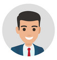 cartoon businessman in suit portrait in circle vector image vector image