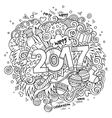 Cartoon cute doodles hand drawn 2017 year vector image vector image
