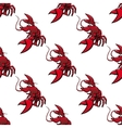 Cartoon red lobsters seamless pattern vector image vector image