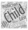 Child Protection Services Word Cloud Concept vector image vector image