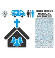 Church Icon with 1000 Medical Business Symbols vector image