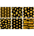 collection seamless patterns gold bitcoin coins on vector image vector image