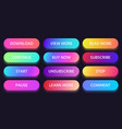 Colorful gradient button read view and learn