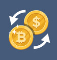 convert bitcoin currency crypto currency flat vector image vector image
