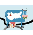 Cow eats money dollars Map of Russia Moscow vector image