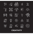 creativity editable line icons set on black vector image vector image