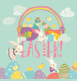 cute chick and bunny with easter eggs vector image vector image