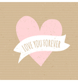 cute pink heart cardboard paper wedding design vector image vector image