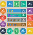 Cyclist icon sign Set of twenty colored flat round vector image