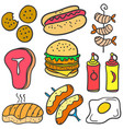 doodle of food various element vector image vector image