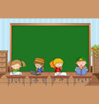 empty blackboard in classroom scene with many vector image