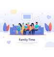 family spending good time taking photo together vector image vector image