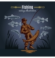 Fishing Gear Vintage Background vector image vector image