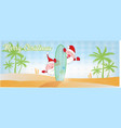 fun santa claus cartoon on beach with surf vector image vector image