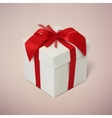 Gift box with red ribbon and bow vector image vector image