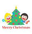 girl and boy merry christmas gift tree vector image vector image