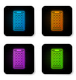 glowing neon mobile apps icon isolated on white vector image vector image