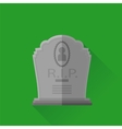 Grey Gravestone Isolated on Green Background vector image vector image