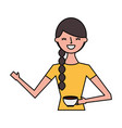 happy woman holding cup vector image