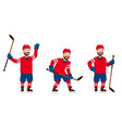 hockey player in different poses vector image vector image