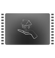 home on the hand outline icon vector image vector image