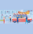 hot dog truck and people on cityscape backdrop vector image
