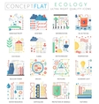 Infographics mini concept green Ecology icons for vector image