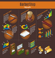 isometric barber shop infographic template vector image vector image