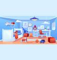 little boy cozy bedroom interior cartoon vector image vector image