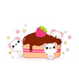 lovely polar bears with a piece of fruit pie vector image