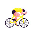 male sport cyclist in a yellow t-shirt on a white vector image