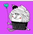 Nice comic cartoon character of cupcake vector image vector image
