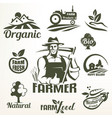 organic bio or farm food emblems collection vector image