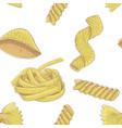 pasta set hand drawn sketch as seamless pattern vector image