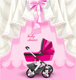 Pink baby shower card with baby carriage vector image