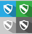 protection shield icon with shade on colored vector image vector image