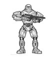 robot soldier sketch engraving vector image