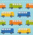 seamless pattern with retro minivans vector image