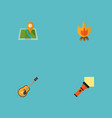 set of encampment icons flat style symbols with vector image