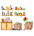 set toys on shelf and in boxes vector image vector image