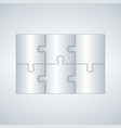 six grey piece flat puzzle infographic vector image vector image