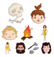 stone age set icons in cartoon style big vector image vector image